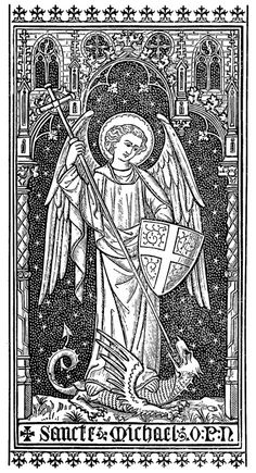 Vintage illustration of St. Michael the Archangel taken from an appendix of an early edition of the The Glories of Mary by St. Catholic Art, Religious Art, Catholic Traditions, St. Michael, Vintage Holy Cards, Saint Michel, Sacred Art, Ancient Art, Line Drawing