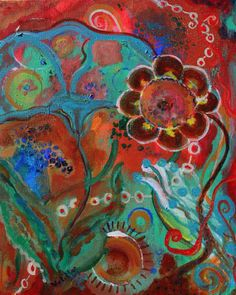 Abstract Garden Painting Rustic Decor Flowers by VickiMaeStudios, $250.00