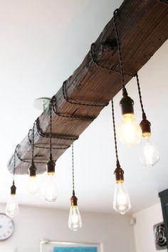 Reclaimed Wood Chandelier for the kitchen lighting Kitchen Lighting Over Table, Kitchen Lighting Fixtures, Dining Room Lighting, Dining Rooms, Windermere House, Diy Home Furniture, Wood Chandelier, Jar Lights, Wood Beams