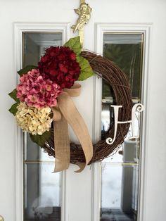 Hydrangea Wreath, Year Round Wreath, Initial Wreath, Door Wreath, Fall  Wreath, All Season Wreath, Spring Wreath, Monogram Wreath, Door Swag