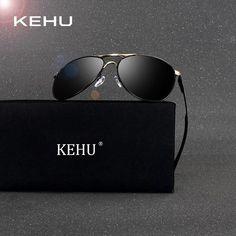 KEHU Design Men Anti-Reflective Brand Aviation Sunglasses HD Polarized Alloy Driving Luxury Sun glasses H1816