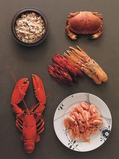 Clockwise from top left: Skagen Salad; Crab; Langoustine; Crayfish; Shrimp; Lobster. Photograph by Erik Olsson. From The Nordic Cookbook