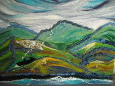 abstract landscape fiber art wet felted by SueForeyfibreart, $62.00