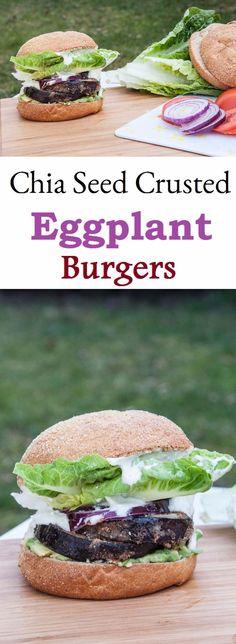 Chia Seed Crusted Eggplant Burgers w/ a Vegan Mayo Recipe | VeganFamilyRecipes.com | #gluten free #dinner #vegetables #clean eating #healthy