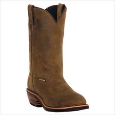 """Awesome Men's Dan Submit twelve"""" WP Leather-based Spherical Toe Pull On Oil Resistant Cowboy Boots"""