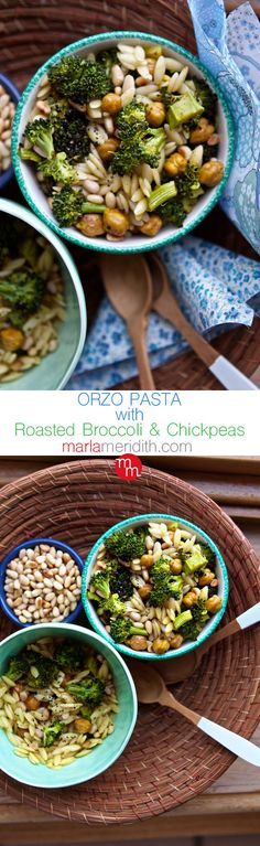 Orzo Pasta with Roasted Broccoli & Chickpeas | MarlaMeridith.com