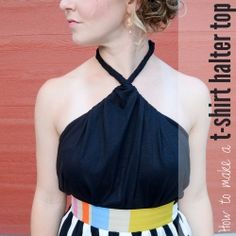 See how to make this t-shirt halter top-- with no sewing! @Brenda Jo Hogue Schawang I could so see you doing & wearing this :)