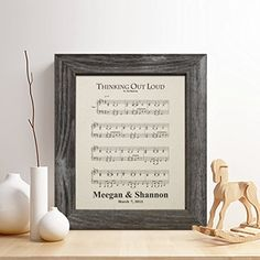 Personalized 2nd Cotton Anniversary Gift for Him or Her First Dance Song Print Music Notes Sheet Print Gifts for Husband and Wife * Check this awesome product by going to the link at the image.Note:It is affiliate link to Amazon.