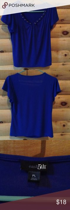 Blue Chiffon Blouse Blue Chiffon Blouse Pleated at the Shoulders with V Neck Studded Neckline. Short Sleeves Loose Fitting. east 5th petite Tops Blouses