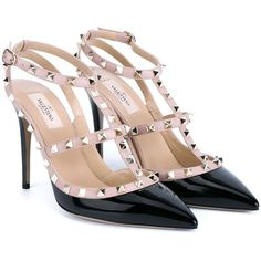 Valentino Garavani 'Rockstud' pumps ($1,110) ❤ liked on Polyvore featuring shoes, pumps, ankle strap pumps, heels stilettos, valentino shoes, leather pointed toe pumps and stiletto pumps