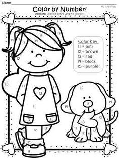 Valentine's Day Color by Number (Kindergarten, Valentine's Day Activities)
