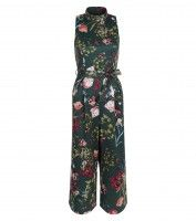 Green Floral Print Funnel Neck Tie Waist Jumpsuit £24.99, download this press image at www.prshots.com/press #women #floral #green #fashion #trend #style #flowers #bloom #press