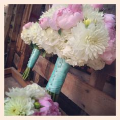 Pink, cream, and Tiffany blue