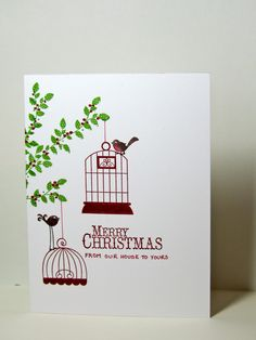 Stampin Up Aviary set with cages and birds hanging from Borderline Branch Merry Christmas from our house to yours