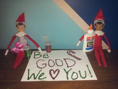 Elf on the Shelf Glitter Message  These two elves left a sweet message for the kids. What a great reminder!