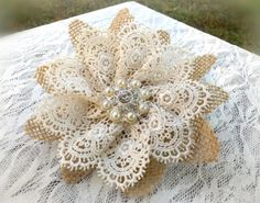 Rustic Romantic Burlap and Lace Hair Flower by PetalsAndStardust