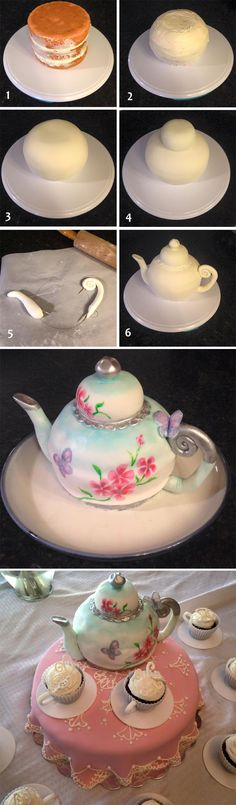 Teapot Cake Tutorial Watch The Easy Video Instructions You will love this Teapot Cake Tutorial and it's easy when you know how. Watch the video instructions and check out all the inspiring versions. Cake Decorating Techniques, Cake Decorating Tutorials, Cookie Decorating, Decorating Ideas, Fondant Cakes, Cupcake Cakes, Shoe Cakes, Sweets Cake, 3d Cakes