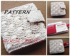 CROCHET Purse PATTERN, Crocheted Ladies Money Wallet pattern, Bi-fold Money wallet pattern, Ladies wallet crochet pattern, Digital/ PDF pattern. A beautiful unique crocheted Money Wallet. A perfect accessory to carry business cards and some cash with you. It has a pocket for cash,