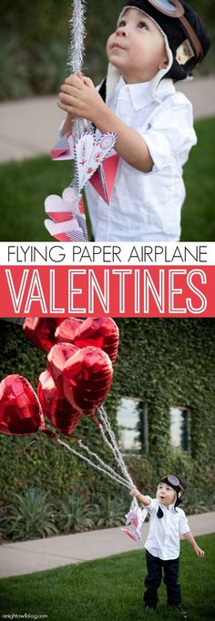 Flying Paper Airplane Valentines