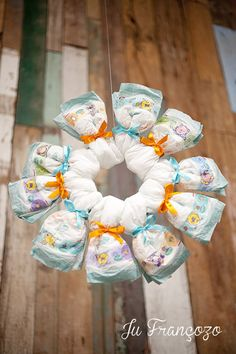 Baby Shower – Pampers Theme ideas. This would be a great wreath for the front door of the shower house!