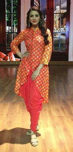 Sonali Bendre in shibori tunic with dhoti pants