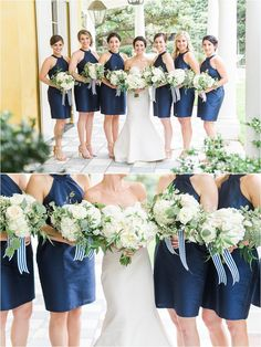 Bridesmaids dress and bouquet inspiration with navy blued dresses and white bouquet with blue and white striped ribbon | A Navy and Gold William Aiken House Wedding | Charleston Wedding Photographer | Catherine Ann Photography