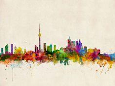 Trademark Art Toronto Canada Skyline by Michael Tompsett Graphic Art on Wrapped Canvas Size: Wall Canvas, Canvas Art, Canvas Prints, Wall Art, Canvas Size, Big Canvas, Wall Murals, Art Toronto, Toronto Skyline