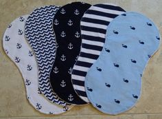 Baby Boy Burp Cloths Nautical Anchors Whales by ChristyRaynDesigns