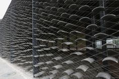 suspended tiles | china academy of arts, folk art museum by kengo kuma