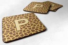 Set of 4 Monogram - Giraffe Foam Coasters Initial Letter P