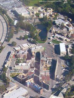 universal studios back lot,  Aerial photo of the New York Street area (February 2011) Copyright 2011 Justin Kilmer