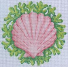 Scallop Shellwith Seaweed Ornament