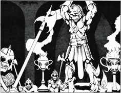 Half-orcs with halberds guard the temple of Gruumsh, beneath the one-eyed gaze of his enormous statue. (Bill Willingham from AD&D module Slave Pits of the Undercity, by David Cook, TSR, Dungeons And Dragons Modules, Advanced Dungeons And Dragons, Dungeons And Dragons Homebrew, Dream Fantasy, Fantasy Rpg, Fantasy Drawings, Fantasy Artwork, Classic Rpg, Dnd Art