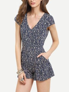 Shop Blue V Neck Florals Ruffle Hem Romper online. SheIn offers Blue V Neck Florals Ruffle Hem Romper & more to fit your fashionable needs.