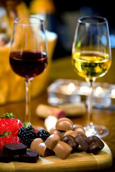 Wine and chocolate.  Love and roses.