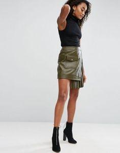 Кожаная юбка с присборенной вставкой ASOS