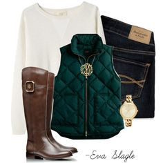 """Vest, boots, and a monogram"" by evaslagle on Polyvore"