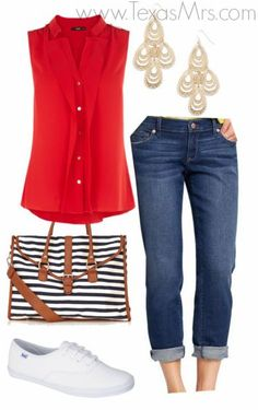 Patriotic Outfit Ideas - The Teacher's Wife - The Teacher's Wife: Patriotic Outfit Ideas You are in the right place about cool outfits Here we - Mode Outfits, Casual Outfits, Fashion Outfits, Womens Fashion, Fashion Clothes, Fashionable Outfits, Casual Clothes, Sneakers Fashion, 4th Of July Outfits