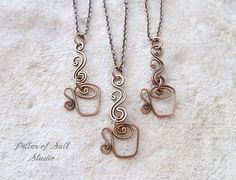 Coffee Necklace / tea cup necklace / copper wire wrapped
