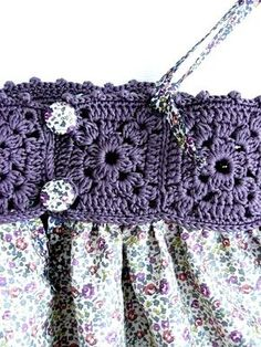 crochet trip on dresslittle girl dresses, crochet top, flower girl dress, for wedding and special occasionsThis Pin was discovered by SasThis is a beautiful dress. Even the cute simple granny squares I can make will work on this one. Crochet Yoke, Crochet Fabric, Crochet Chart, Filet Crochet, Crochet Patterns, Crochet Baby Clothes, Crochet Girls, Crochet For Kids, Diy Crafts Crochet