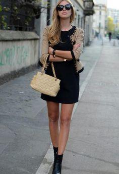 Great black dress and beige cardigan
