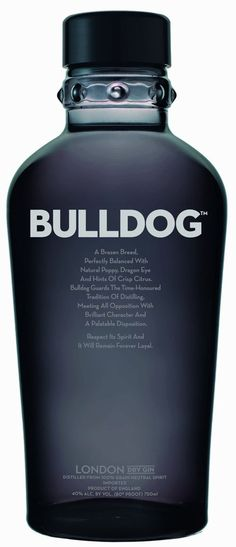 Bulldog London Dry Gin (UK): a super premium brand made in London. Botanicals include: poppy, dragon eye, lotus leaves and lavender.