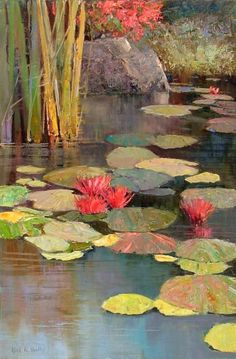 WALLIS - Artist, Galleries in Carmel California- Jones/Terwilliger Landscape Art, Landscape Paintings, Landscapes, Lily Painting, Lily Pond, Beautiful Paintings, Art Oil, Painting Inspiration, Flower Art