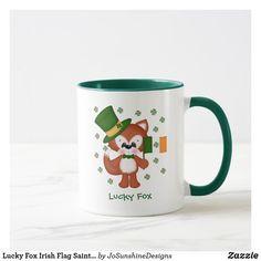 Lucky Fox Irish Flag Saint Patricks Day Mug - saint patricks day st patricks holiday ireland irsih special party Saint Patricks, St Patricks Day, St Patrick's Day Gifts, Custom Mugs, Irish, Tea Cups, Coffee Mugs, Fox, Tableware