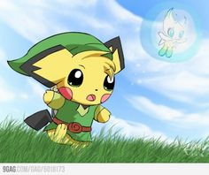 Link Pichu and Celebi Legend of Zelda. SUPER CUTE!!!!