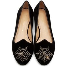 Charlotte Olympia Black Velvet Charlottes Web Flats ($455) ❤ liked on Polyvore featuring shoes, flats, embroidered flats, metallic flats, flat pumps, black velvet shoes and black velvet flats