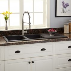 Composite Granite Kitchen Sinks Franke dual mount composite granite 33 in 1 hole double bowl 46 owensboro double bowl drop in granite composite sink with drain board black workwithnaturefo