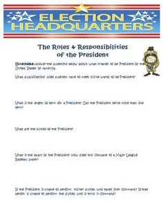 Worksheets Roles Of The President Worksheet powers of 10 math face off 5 nbt 2 activities student and the o united states president activity this is a free worksheet answer key that will have your students learn about roles t