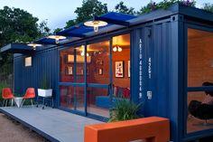 originele blauwe containerwoning
