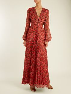 Raquel Diniz Olivia floral-print pleated silk-georgette gown Red Silk, Wrap Dress, Floral Prints, Long Dresses, Maxi Dresses, Gowns, Clothes For Women, Woman Clothing, How To Wear